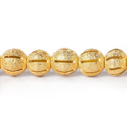 Best buying 8mm 22kt Gold Plated Brass Stardust Striped Round Beads, 8 inch, 28 beads - Buy From The Bead Traders Online Store