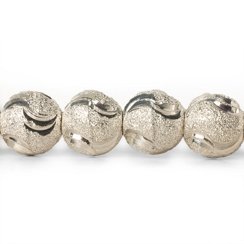 10mm Sterling Silver Plated Brass Stardust Wave Round Beads, 8 inch