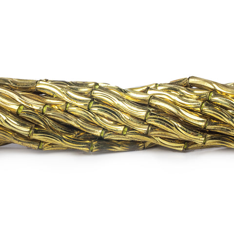 10mm Brass Grooved Wave Tube Beads, 8 inch