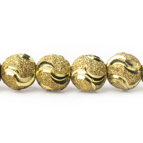 10mm Brass Diamond Cut Double Wave Round Beads, 8 inch