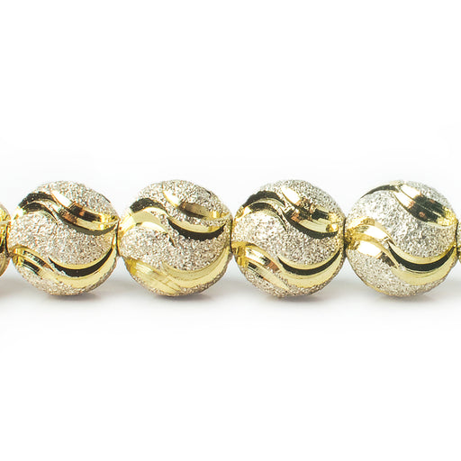 "Two Tone Brass Round 10mm Bead Stardust & Diamond Cut Swirls, 8"" length, 23 pcs"