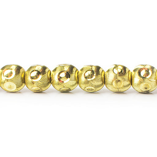 8mm Brass Diamond Cut Wave Circle Round Beads, 8 inch