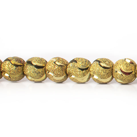 8mm Brass Textured with Shiny Half Moon Round Beads, 8 inch
