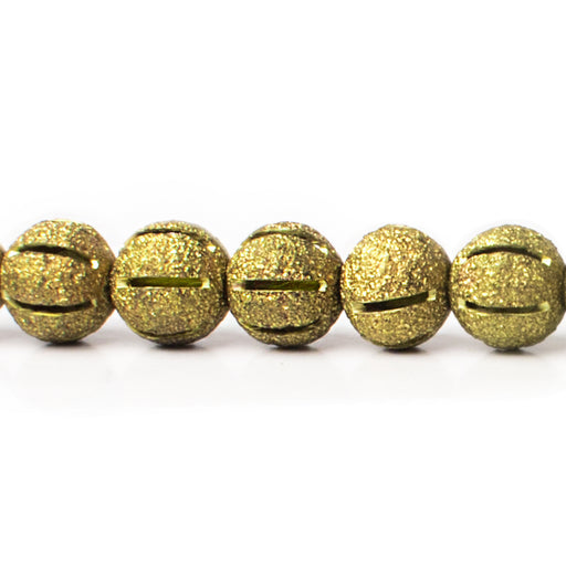 8mm Brass Textured Round Beads, 8 inch