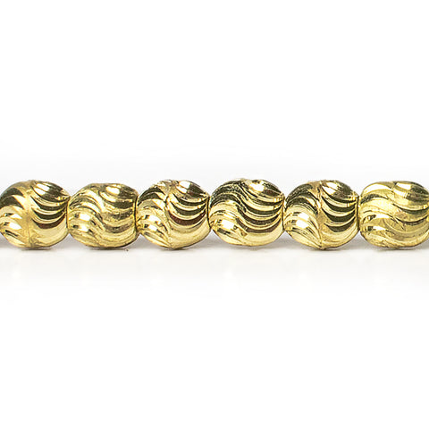 7mm Brass Oval Wave Beads, 8 inch