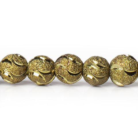8mm Brass Textured Wave Round Beads, 8 inch