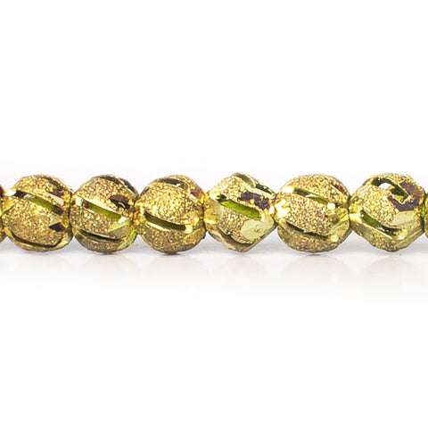 5mm Brass Diamond Cut Diagonal Groove Round Beads, 8 inch