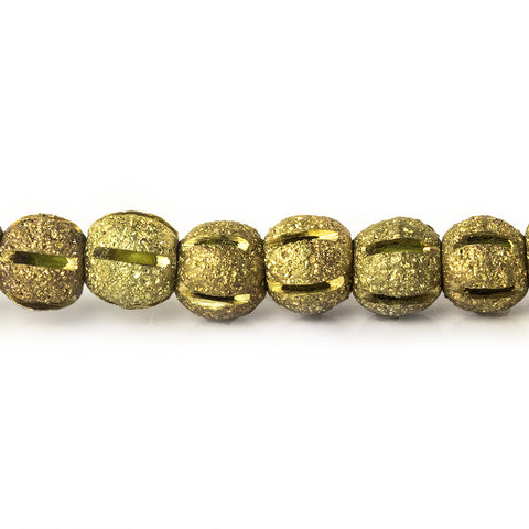 5mm Brass Textured Round Beads, 8 inch