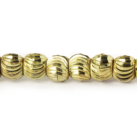 5mm Brass Curved Fluted Round Beads, 8 inch