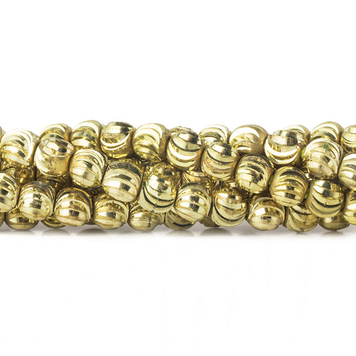 4mm Brass Fluted Round Beads, 8 inch