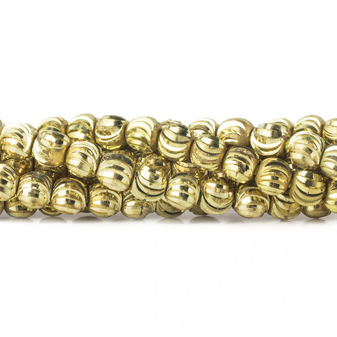 Top quality 4mm Brass Fluted Round Beads, 8 inch - Buy From The Bead Traders Online Store