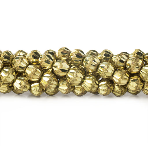 "Brass Round 5mm Nugget Bead Stardust & Plain Groves, 8"" length, 43 pcs"