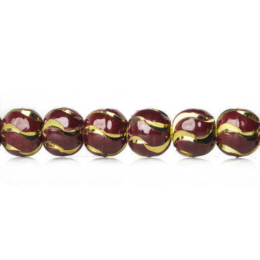 6mm Burgundy Enamel Brass Oval Diamond Cut Swirl Beads, 8 inch