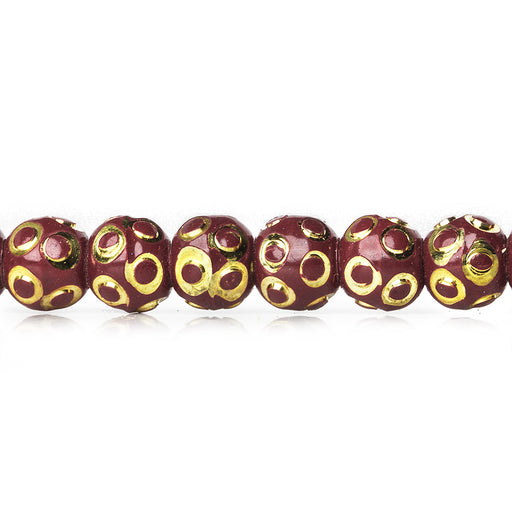 5mm Burgundy Enamel Diamond Cut Brass Rounds Beads, 8 inch