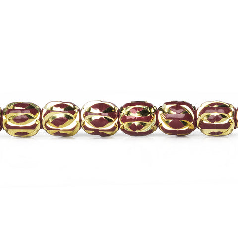 8mm Burgundy Enamel Elliptical Diamond Cut Brass Rounds Beads, 8 inch