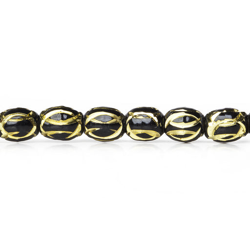"Black Enamel Plated Brass Oval Bead 7x6mm Diamond Cut Elipses, 8"" length, 29 pcs"