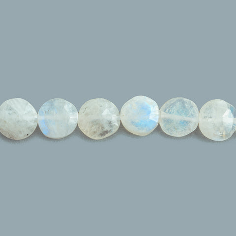 Rainbow Moonstone Hand Cut Faceted Coin Beads 10 inch 33 pieces