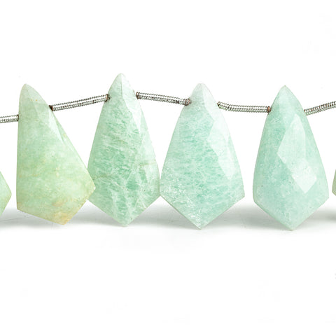 Amazonite Faceted Shield Beads 9 inch 14 pieces
