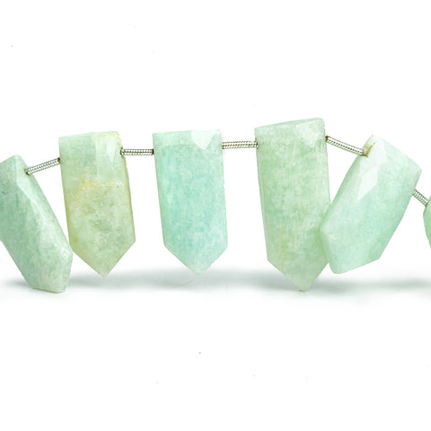 Amazonite Faceted Straight Shield Beads 9 inch 14 pieces