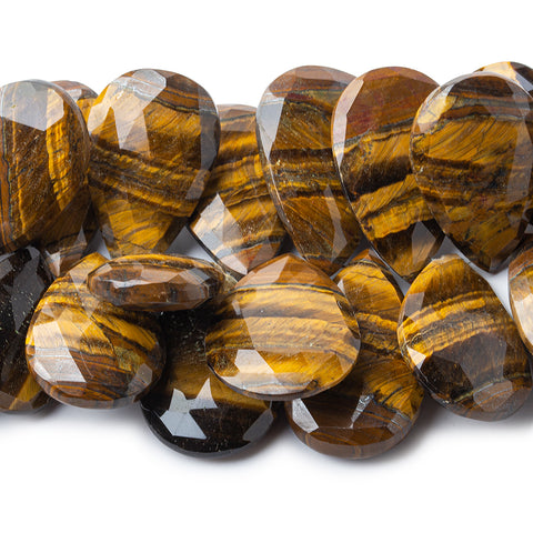 Tiger's Eye faceted pears 8 inch 24x18mm - 36x25mm 29 beads A