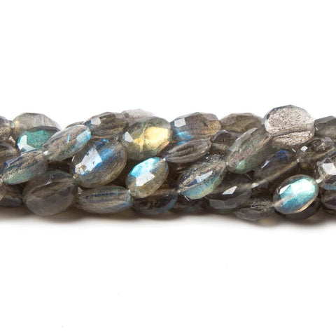 8x6-10x7mm Labradorite Faceted Oval Beads 14 inch 41 pieces