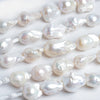 Off White Ultra Baroque Large Hole Freshwater Pearls 4 inch 5 pieces