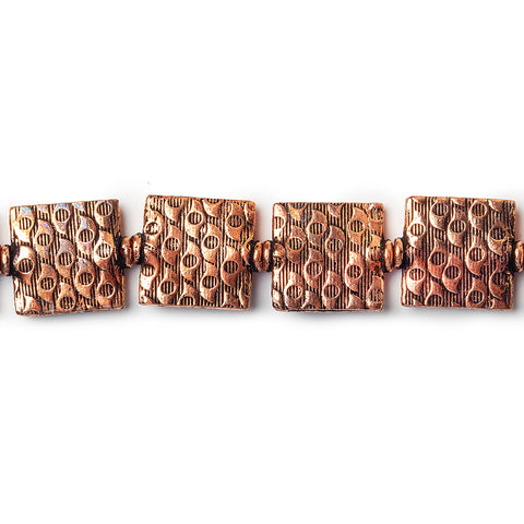 12mm Antiqued Copper Eye Embossed Square Beads, 8 inch, 15 beads