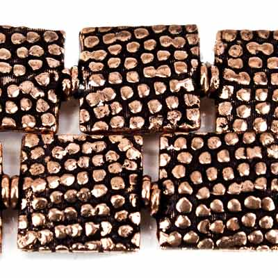 12mm Antiqued Copper Snakeskin Embossed Square Beads, 8 inch, 15 beads