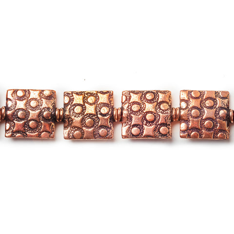 12mm Antiqued Copper Square And Circle Embossed Square Beads, 8 inch, 15 beads