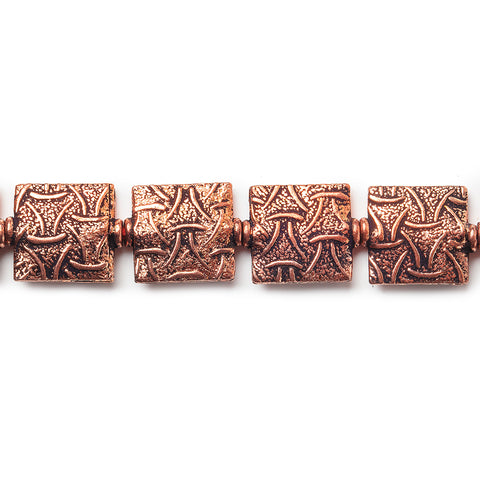 12mm Antiqued Copper Woven Triangle Embossed Square Beads, 8 inch, 15 beads