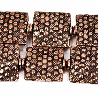 12mm Antiqued Copper Pebbles Embossed Square Beads, 8 inch, 15 beads