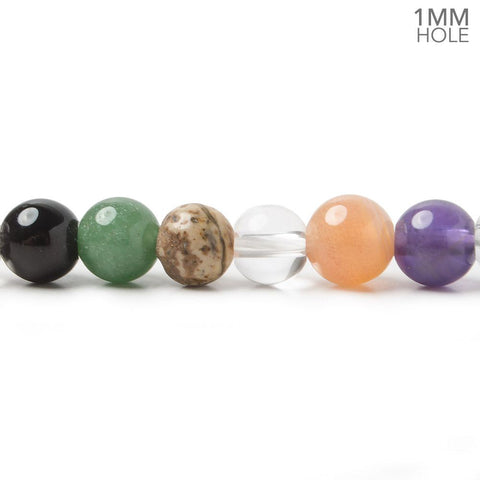 7mm Multi Gemstone Plain Round Beads 15.5 inch 58 pieces