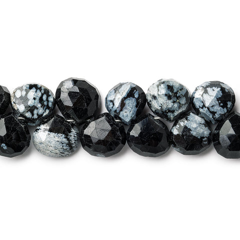 8mm Snowflake Obsidian Faceted Heart Beads, 8 inch