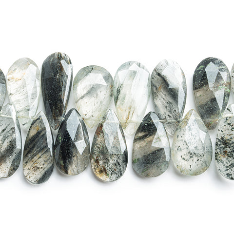 15x8mm-17x10mm Tourmalinated Quartz Faceted Pear Beads 9 inch 50 pieces