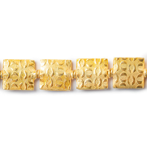 12mm 22kt Gold Plated Copper `O` For Hugs Embossed Square Beads, 8 inch