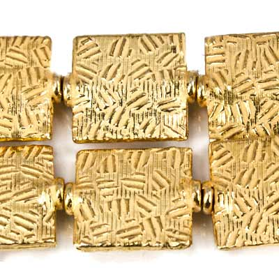 12mm 22kt Gold Plated Copper Crosshatch Embossed Square Beads, 8 inch