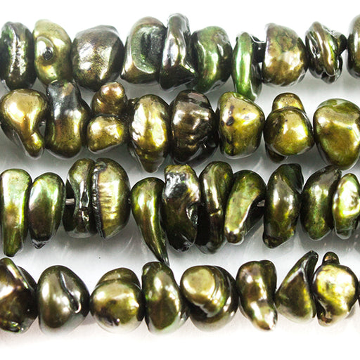 Pine Green Center Drilled Keshi Freshwater Pearls 15 inch 88 pieces