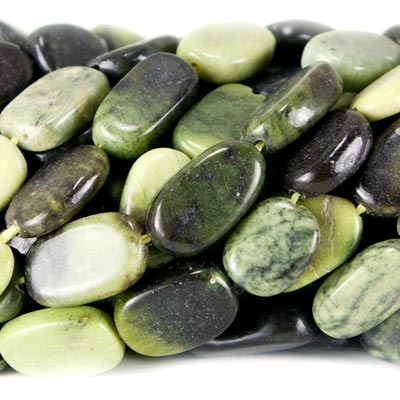 Green Serpentine Bead Oval