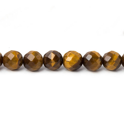 Top quality 5.5mm Tiger Eye Faceted Round Beads, 14 inch - Buy From The Bead Traders Online Store