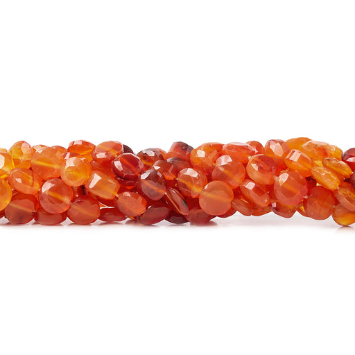 6mm Carnelian Faceted Coin Beads, 14 inch