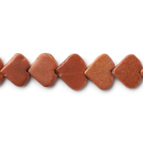 Beautiful range of 11mm Goldstone Plain Heart Beads, 14 inch - Buy From The Bead Traders Online Store