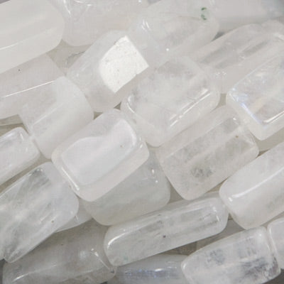 9mm Rainbow Moonstone Plain Rectangle Beads, 14 inch