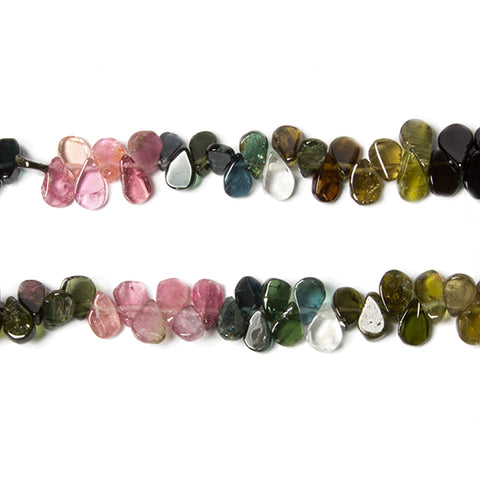 6x4mm Multi Color Tourmaline plain pears 16 inch 183 beads
