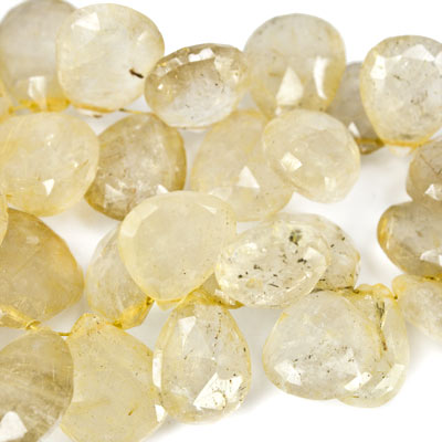 "Rutilated Quartz Beads Faceted Hearts 11x11-13x15mm & Pears, 8"" length, 56 pcs"