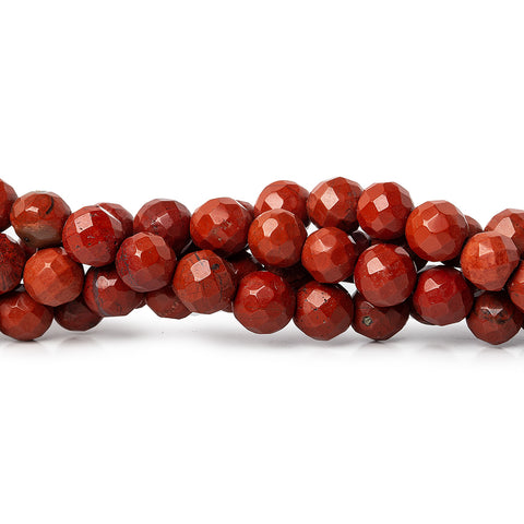 6mm Red Jasper Faceted Round Beads, 16 inch