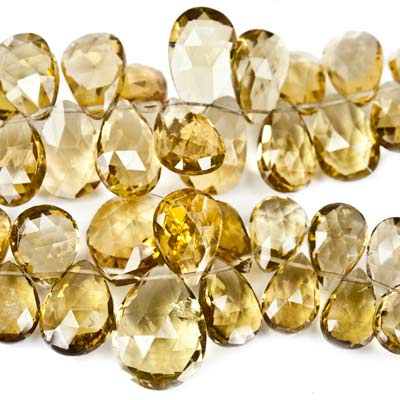 "Whiskey Quartz Beads Faceted 10x8-15x10mm Pears, 8"" length, 46 pcs"