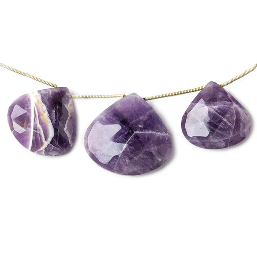 14x14-28x28mm Cape Amethyst faceted heart briolettes 8 inch 11 pieces