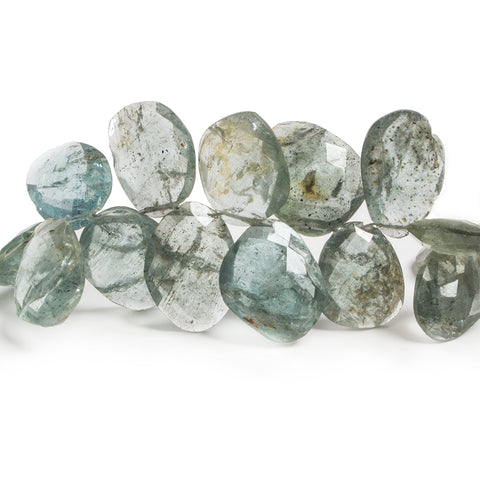 11-15mm Moss Aquamarine Faceted Freeshape Beads 9 inch 48 pieces
