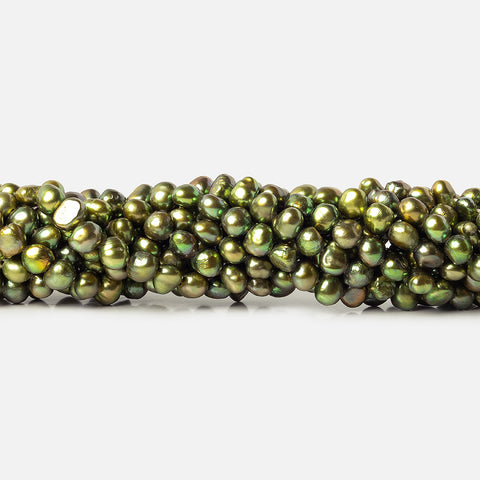 6mm Avocado Green Baroque Freshwater Pearl Beads, 15 inch