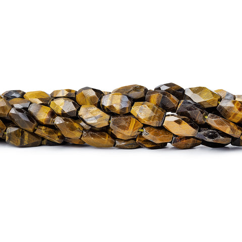 9mm Tiger Eye Faceted Oval Beads, 14 inch